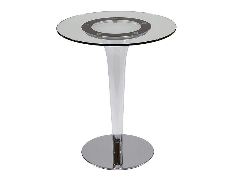 Mesita redonda de un solo pie en cristal - Mesitas auxiliares de cristal ...