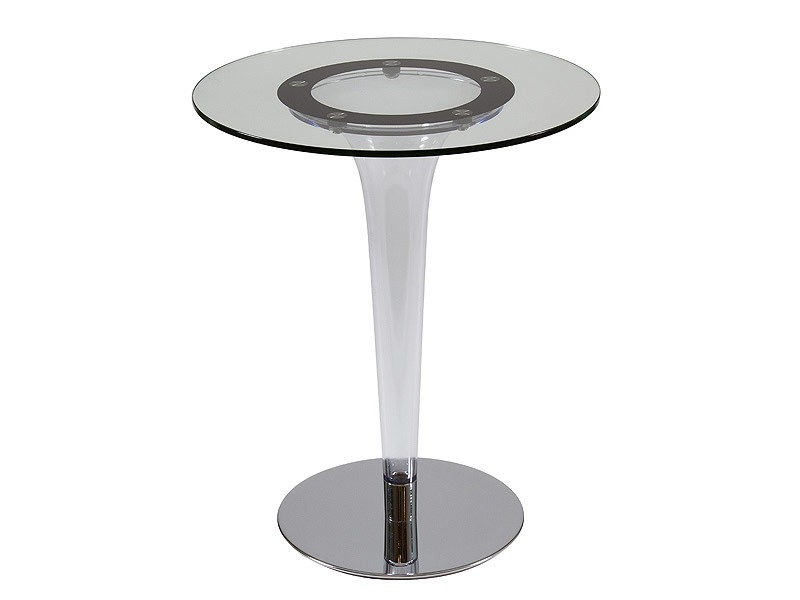 Mesita redonda de un solo pie en cristal - Mesa auxiliar redonda ...