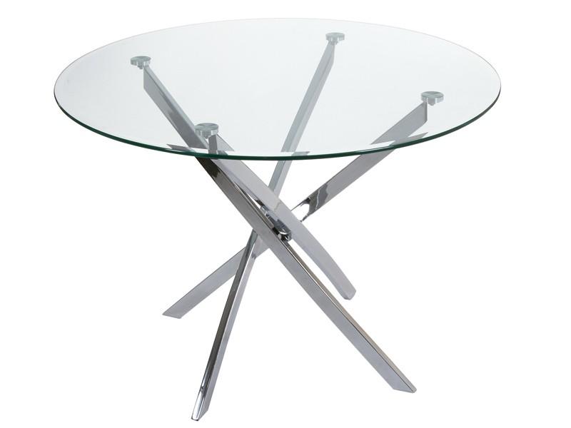 Mesa redonda de cristal con patas de acero inoxidable
