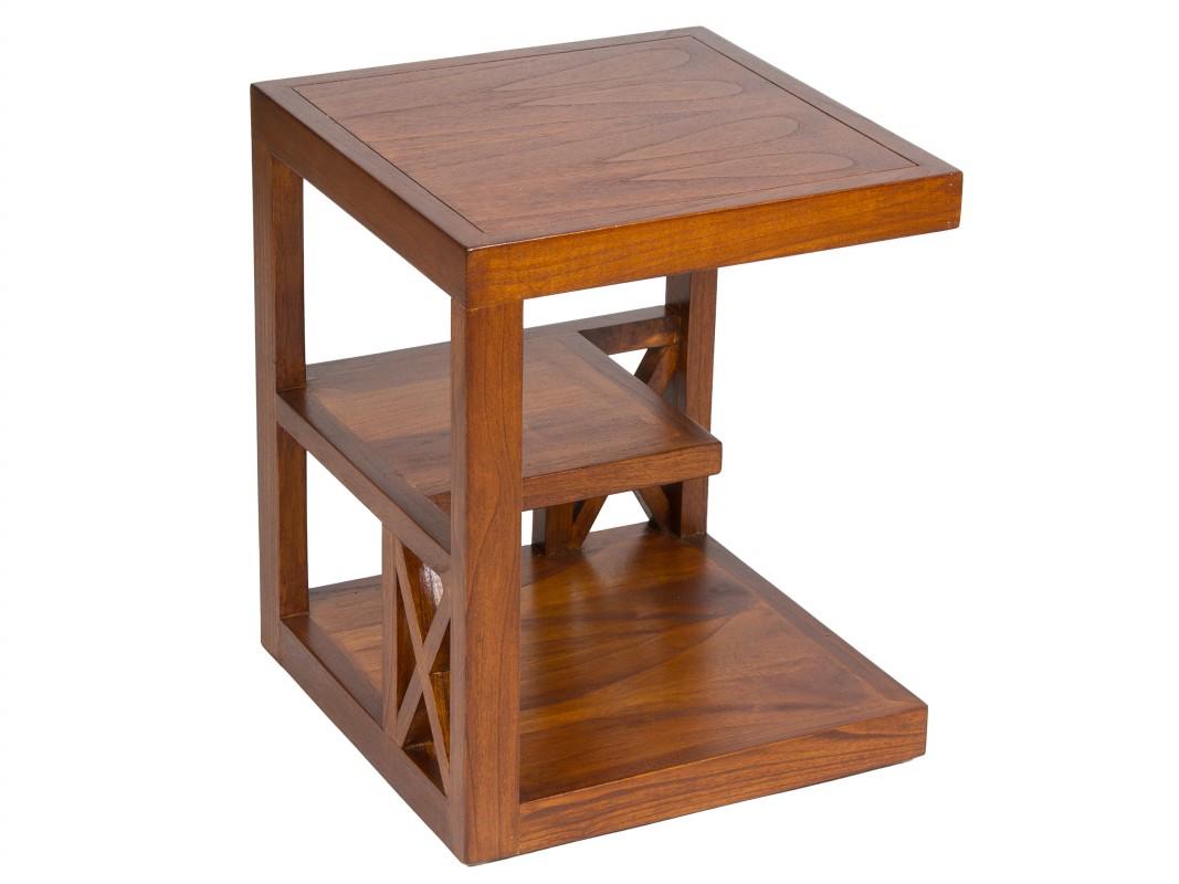 Mesa rinconera con estantes madera de acacia color nogal for Mesas rinconeras de cocina de madera