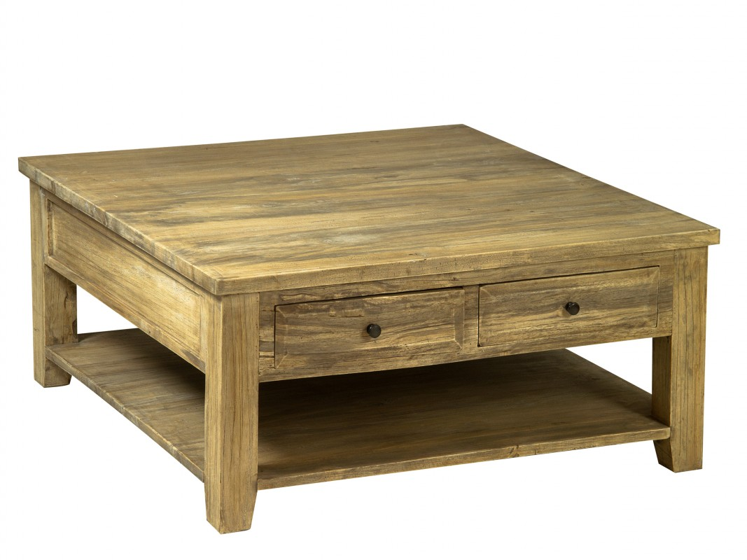 Mesa auxiliar cuadrada de madera envejecida mesas online for Mesas de salon de madera