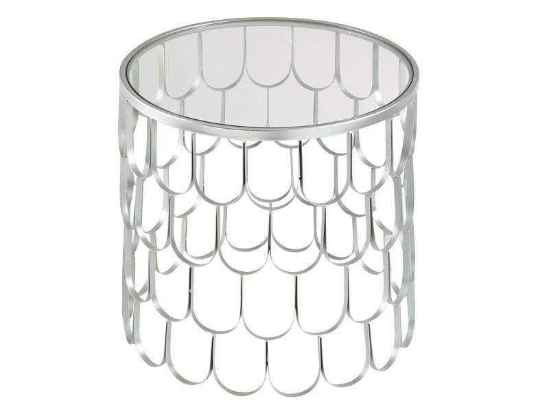 Mesa rinconera de dise o en metal plateado y cristal - Mesitas auxiliares de cristal ...