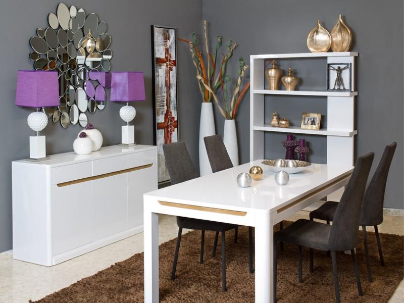 Mesa sal n comedor blanca esquinas redondeadas y franjas for Mesa salon comedor