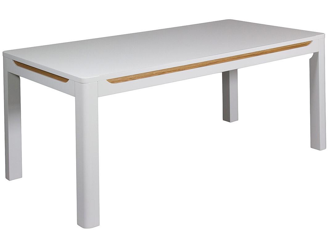 Mesa sal n comedor blanca esquinas redondeadas y franjas for Mesas para esquinas