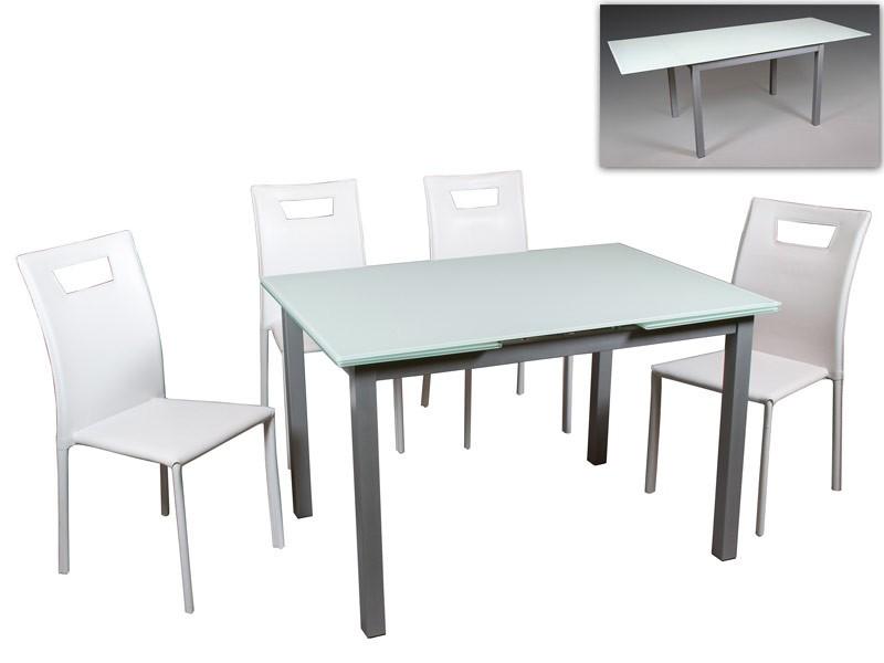 Conjunto mesa extensible y sillas para cocina o terraza