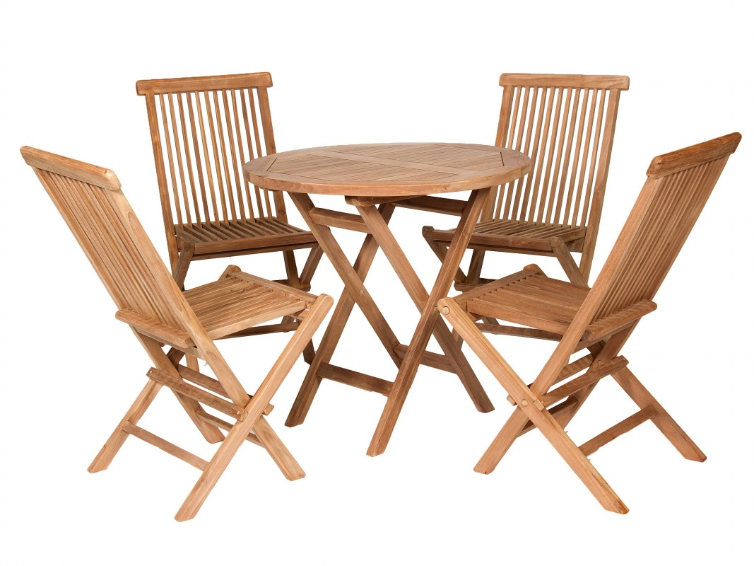 Conjunto mesa y sillas jard n de teka natural for Mesas de jardin precios