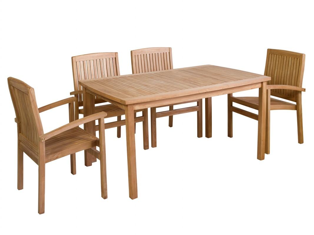 Mesa y 4 sillas de exterior de madera de teca con coj n - Mesa de teca ...