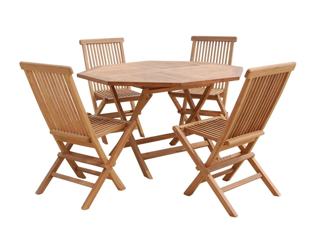 Conjunto de mesa y 4 sillas de terraza de madera de teca for Mesas y sillas para terraza