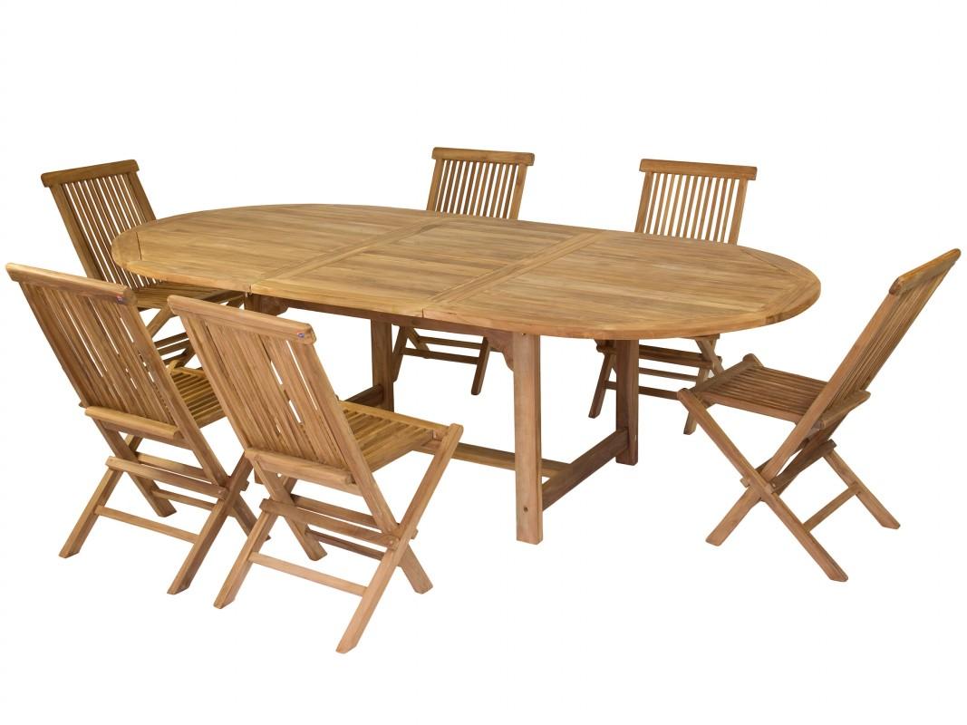 mesa extensible y sillas de madera de teca