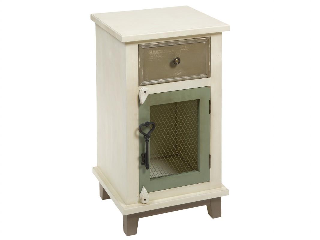 Mueble auxiliar retro color crema y verde con puerta y cajón