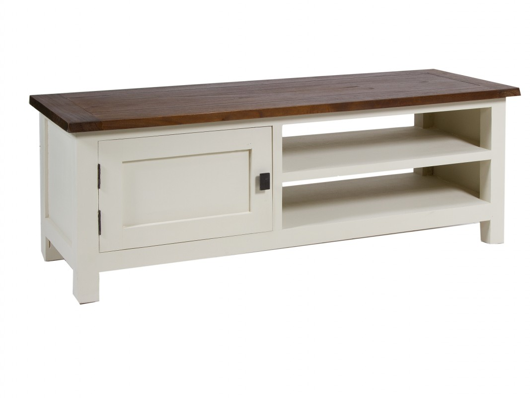 mueble tv escandinavo blanco y nogal lucca