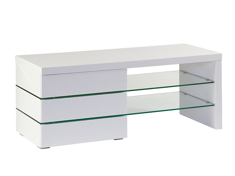 Mesa para poner la televisi n con estantes de cristal y dm for Mesas para tv baratas