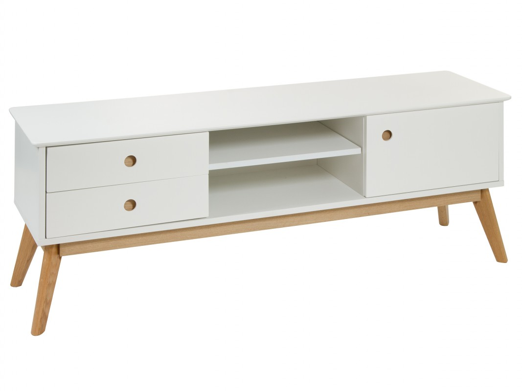 Mesa tv escandinava blanca lacada brillo y madera de roble for Mesa para tv con cajones