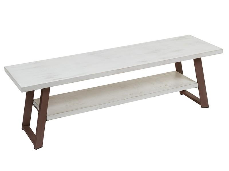 Mesa tv blanca tiza y marr n de madera y hierro estilo industrial - Mesa blanca y madera ...