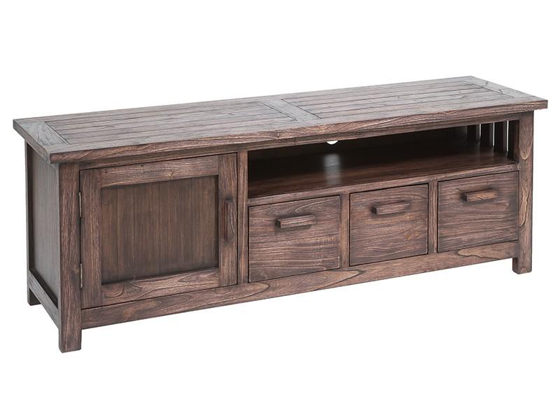 mesa tv colonial rustica mueble television nogal jaspeado