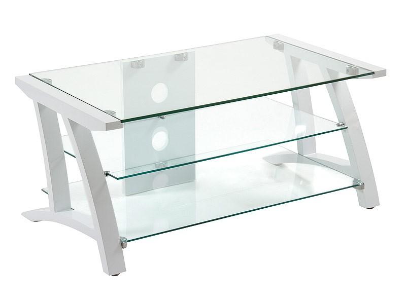 Mesa tv cristal moderna con tres estantes y estructura madera for Mesa cristal moderna