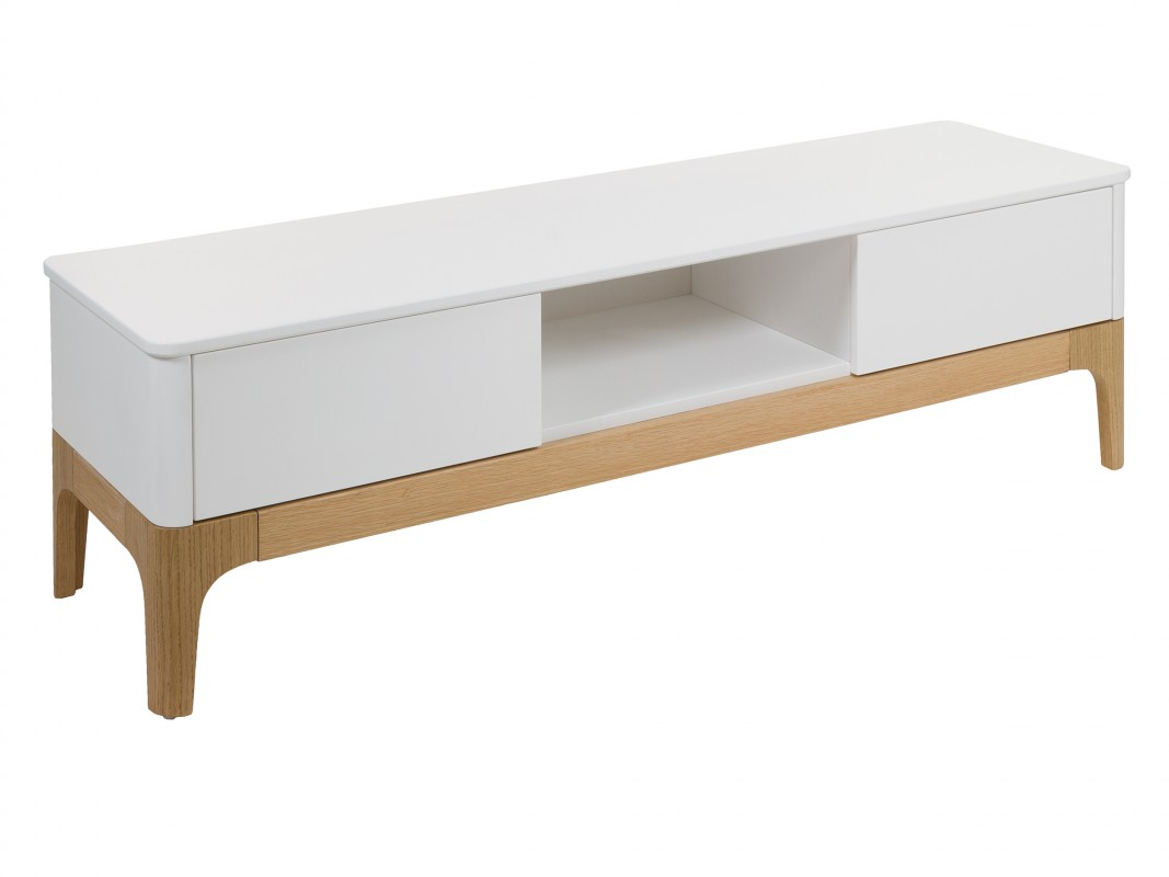 Mueble para televisi n blanco y madera estilo n rdico con for Estilos de muebles de madera