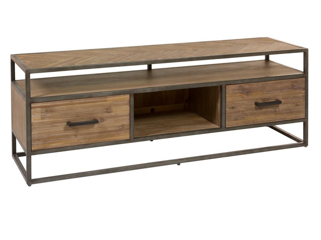 Mueble tv dise o industrial 150 cm con cajones de madera y for Muebles de diseno industrial