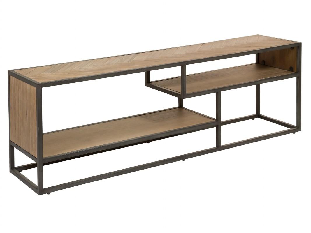 Mesa TV industrial madera con patas de hierro Kansas
