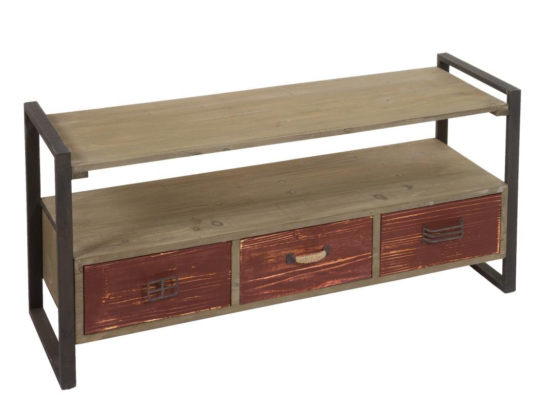 Mueble para tv madera y metal industrial con efecto envejecido for Muebles de madera para tv