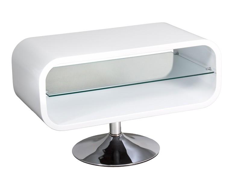 Mesa tv peque a blanca estilo moderno de dm y cristal for Mesas para tv modernas