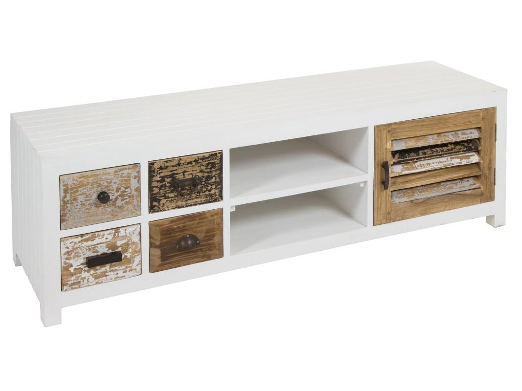 Mesa de televisi n blanca vintage con cajones envejecidos for Mesas de television baratas