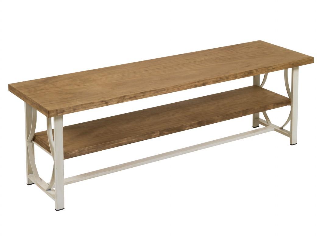 Mesa tv vintage de forja y pino laminado con acabado envejecido - Patas de forja para mesas ...