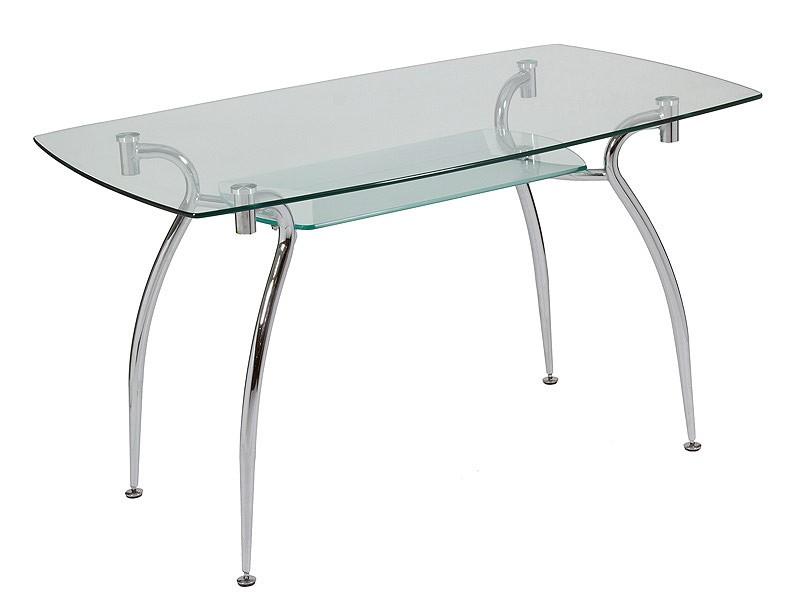 Mesa de vidrio y acero con estante inferior venta mesas - Mesa comedor cristal y acero ...