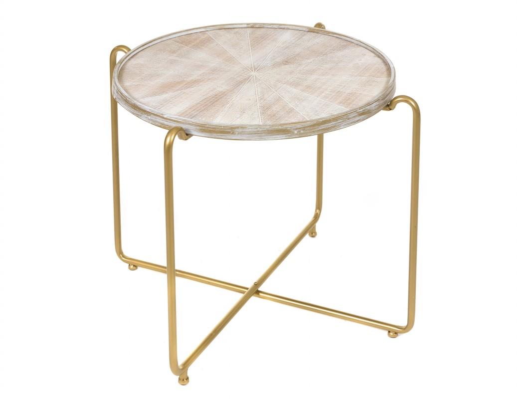 Mesa baja redonda vintage de forja y madera comprar online - Patas de forja para mesas ...
