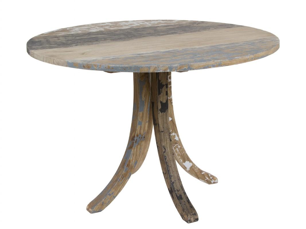 Mesa vintage redonda de madera decapada venta online - Mesa redonda vintage ...