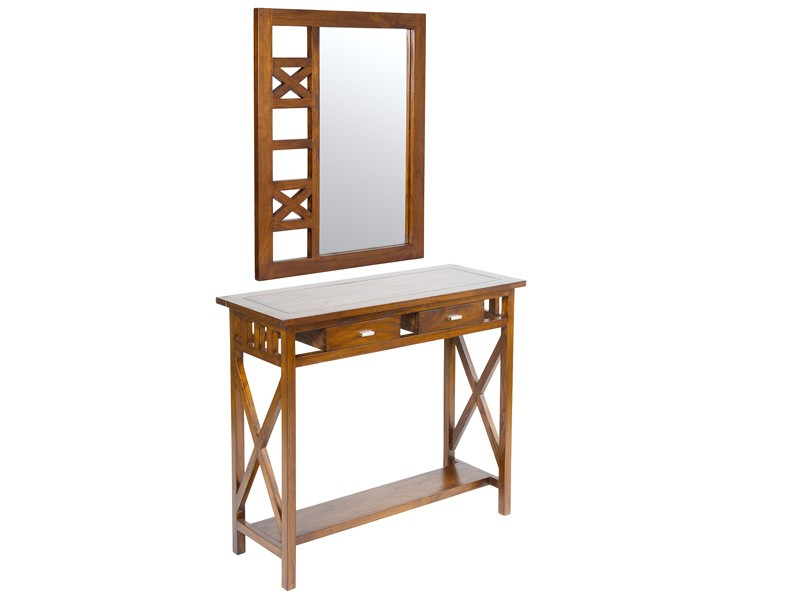 Mesa y espejo para recibidor estilo colonial for Mesas recibidores modernos