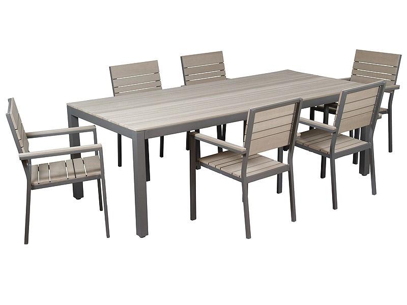 Mesa y sillas de aluminio y sint tico para terraza - Mesas de terraza ...