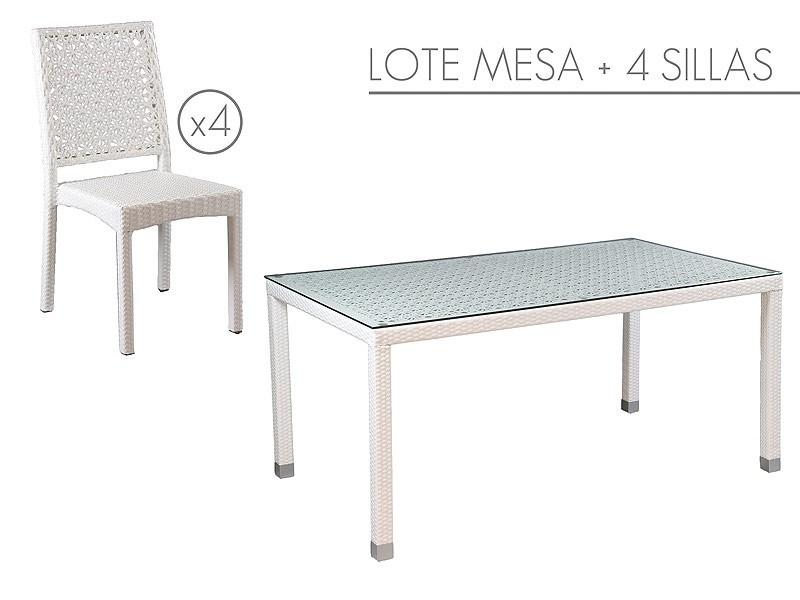 Conjunto mesa y 4 sillas blancas de jard n rattan sint tico for Conjunto jardin rattan sintetico