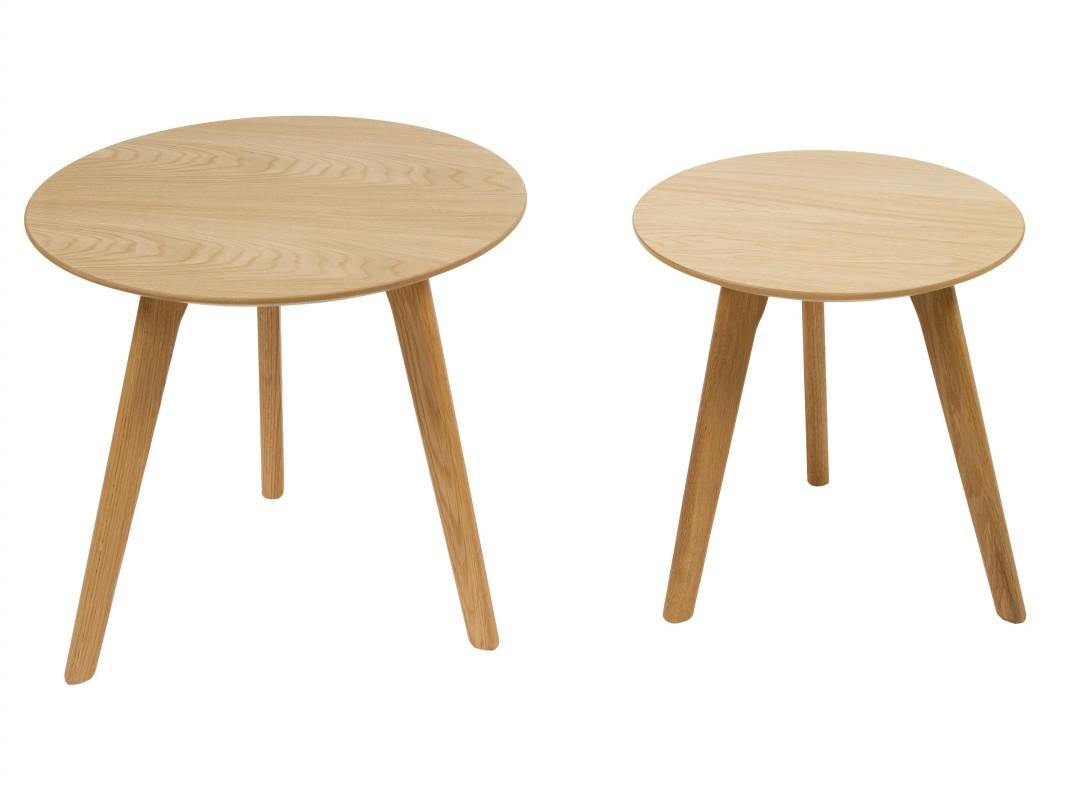 Juego 2 mesas auxiliares redondas de madera de roble y mdf - Mesas de madera redondas ...
