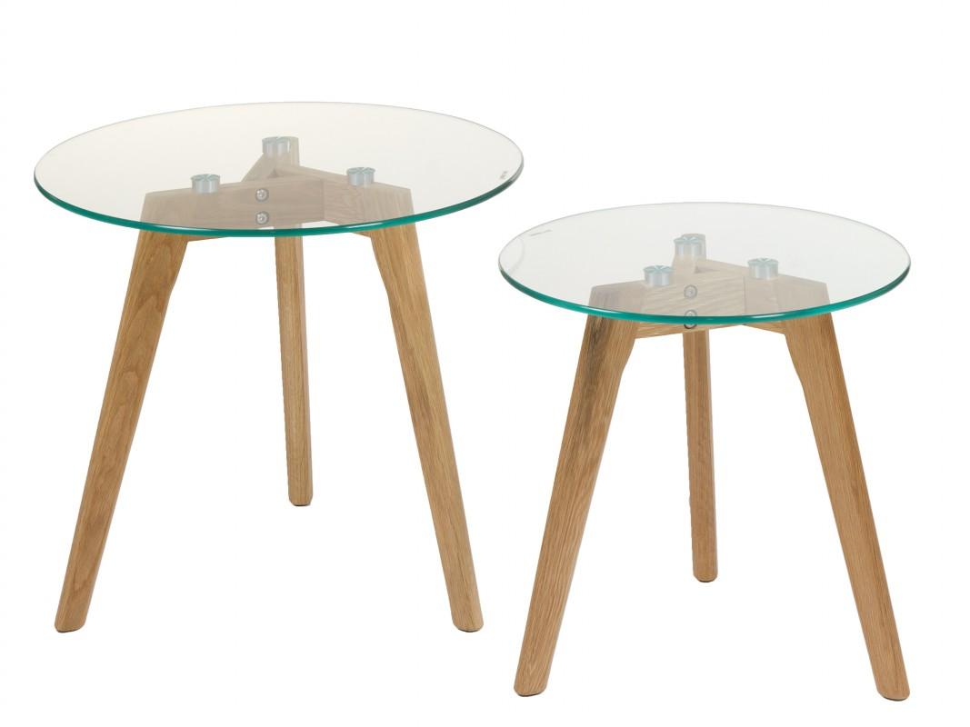 Mesas de cristal redondas con patas de madera venta online for Mesas de salon de cristal