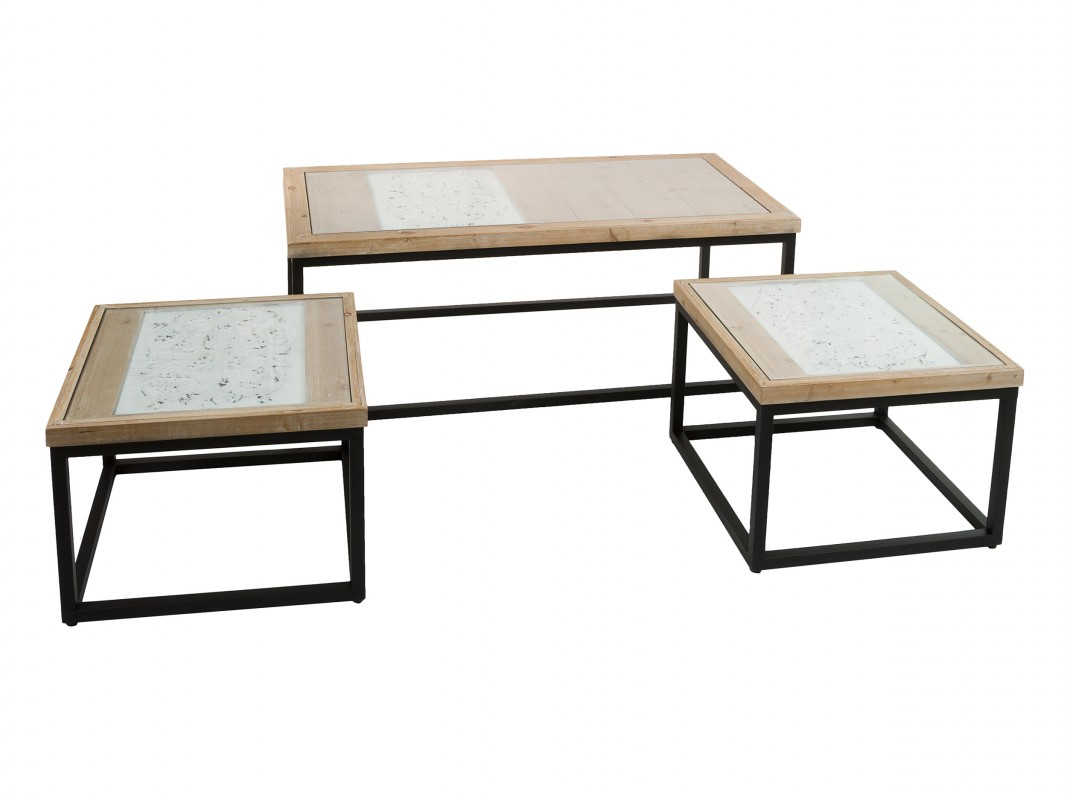 Set 3 mesas auxiliares metal y madera Industrial Classic