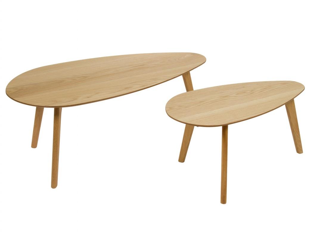 Juego de 2 mesas ovaladas auxiliares de mdf laminado en roble - Mesas auxiliares pequenas ...