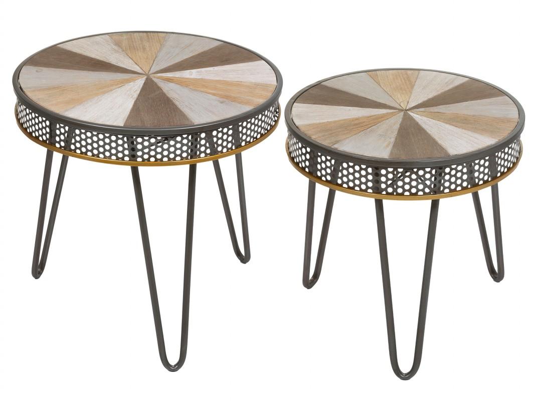Juego mesas auxiliares redondas de hierro y madera de for Mesas estilo industrial