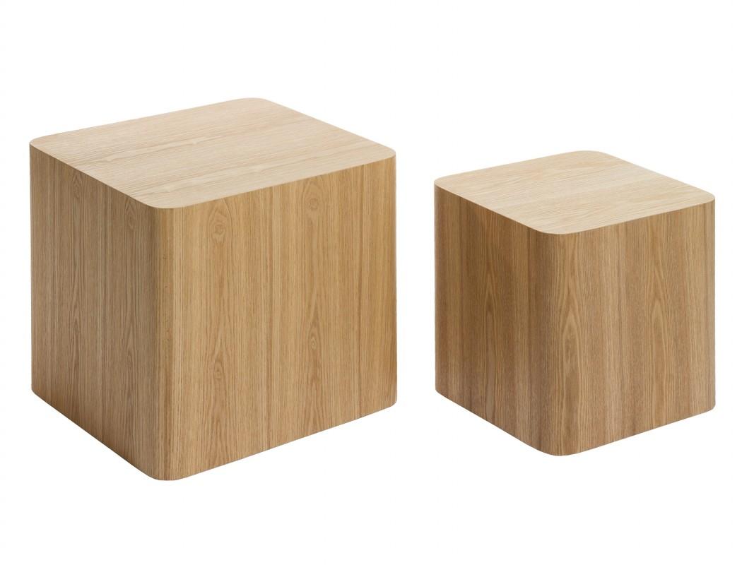 Juego de mesas cubo color natural de mdf y madera de fresno - Cubos de madera ...