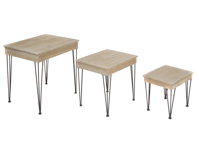 Mesas nido estilo industrial de madera de abeto y metal for Mesa industrial de madera y metal