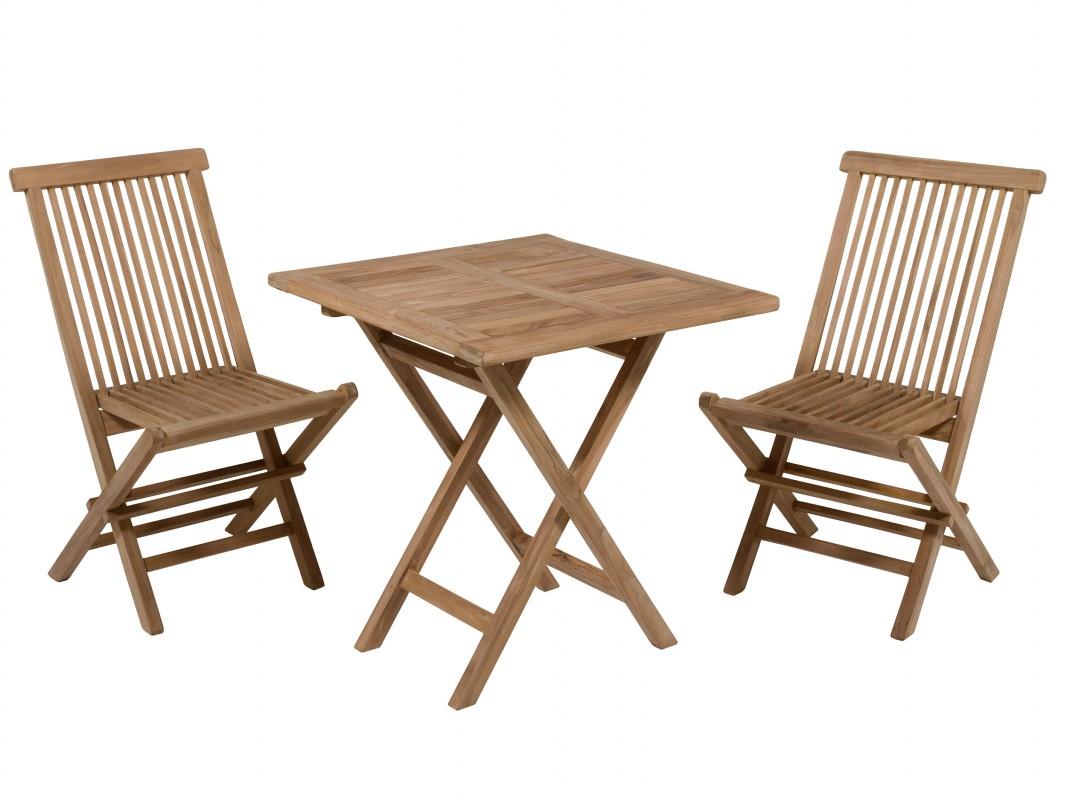 Mesita con 2 sillas de teca para jard n o terraza for Mesa y sillas para balcon