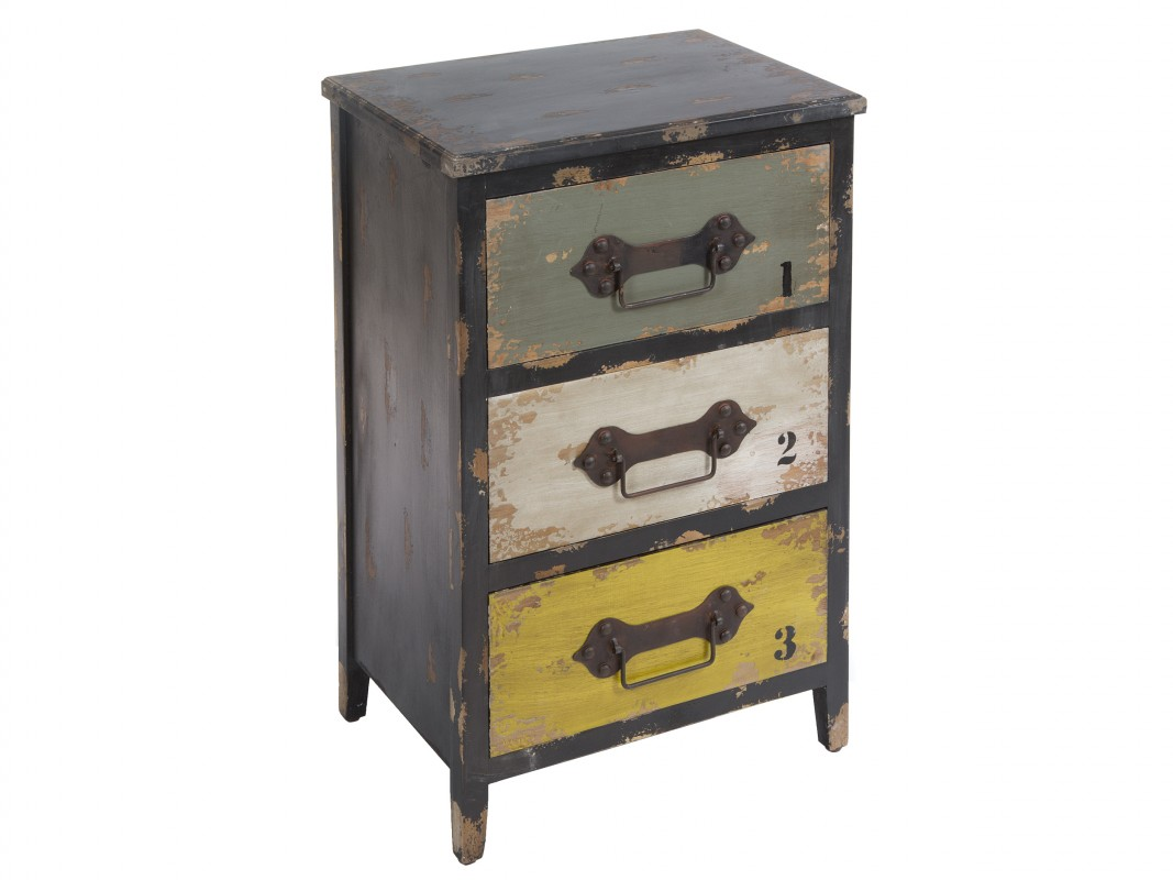 Mueble industrial de madera y metal con 3 cajones for Cajones para muebles