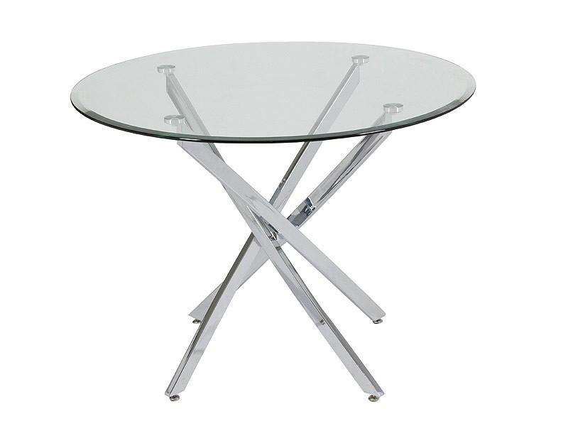 Mesa auxiliar redonda de vidrio y acero mesas auxiliares - Mesas acero y cristal ...