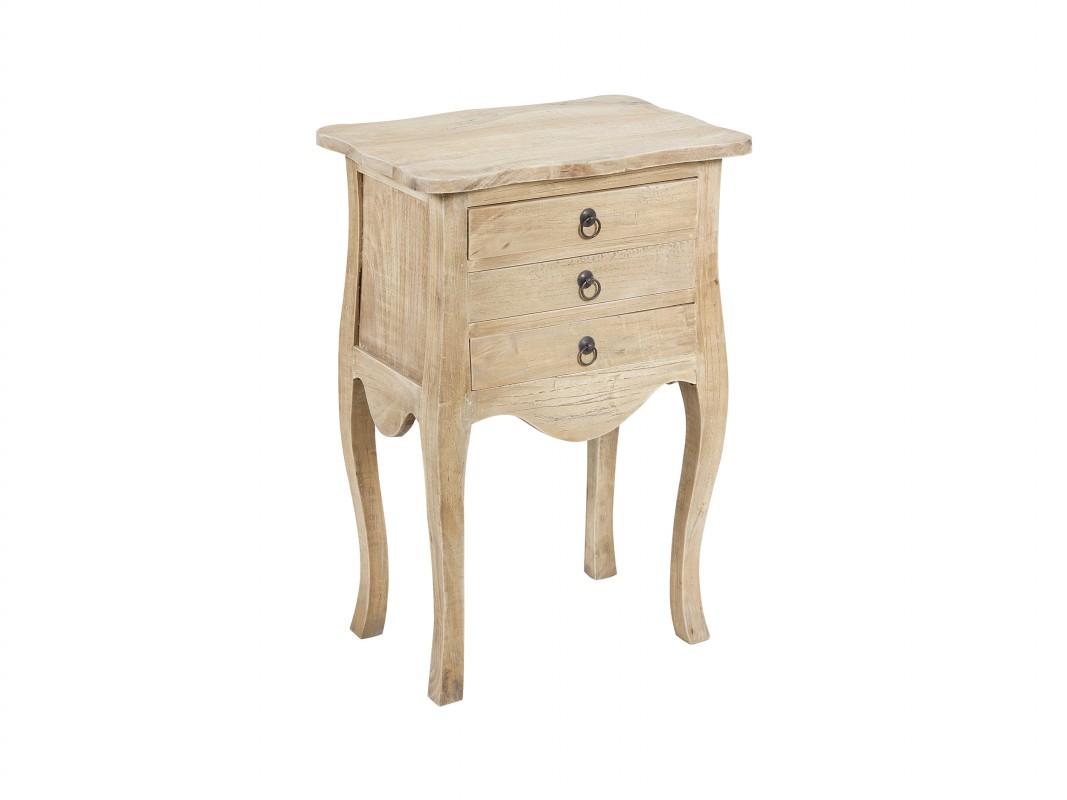 Mesita cl sica de madera en crudo con tres cajones y patas isabelinas - Mesitas de noche clasicas ...
