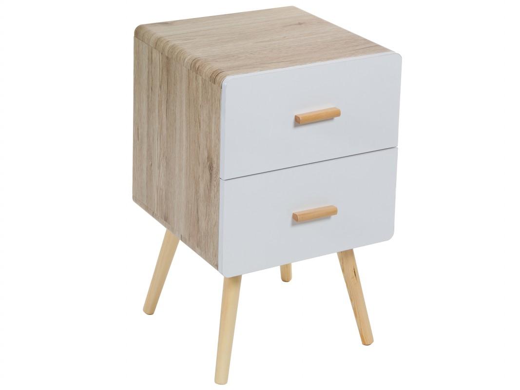 Mesita escandinava de color blanco y madera con 2 cajones - Laca blanca para madera ...