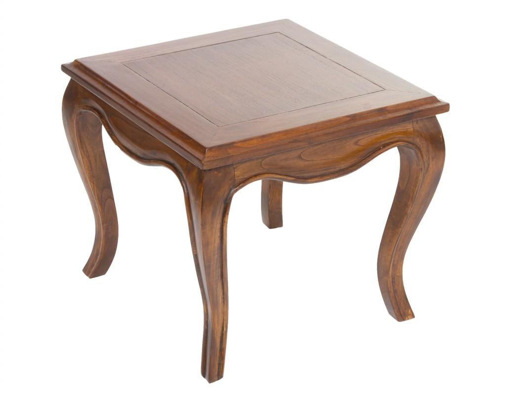 Mesa auxiliar colonial de madera con patas isabelinas for Estilos de muebles de madera