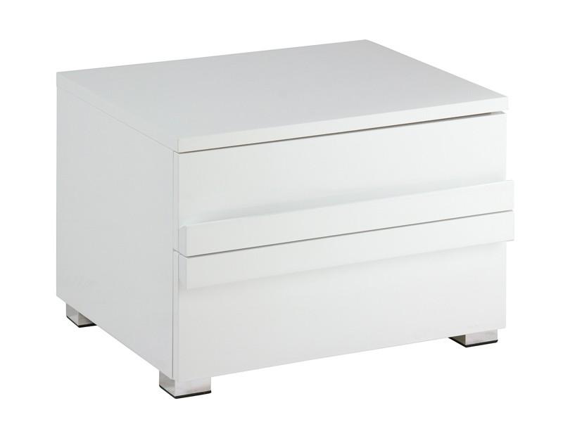 Mesita de noche baja blanca lacada mesitas dormitorio for Mesitas noche modernas