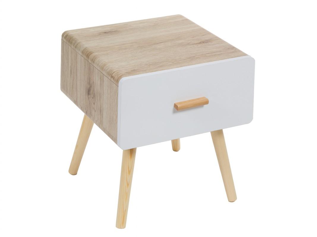 Mesita de noche con patas diagonales estilo escandinavo - Mesitas de noche de madera ...