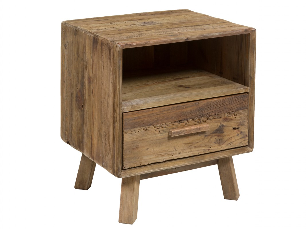 Mesita noche de madera reciclada vintage mesilla noche - Mesitas de noche recicladas ...