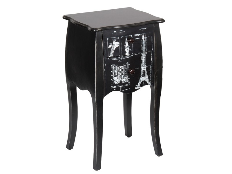 Mesita de noche negra de madera estilo vintage decoraci n for Mesitas de noche negras